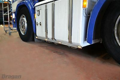 To Fit DAF XF 106 2013+ Stainless Steel 6x2 Side Bar Trims Strips + Amber LEDs