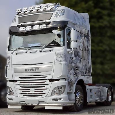 To Fit DAF XF 106 13+ Super Space Cab Smoked Acrylic Sunvisor + Jumbo Spots x4