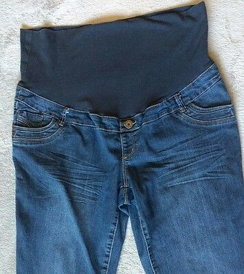 Womens Thyme Maternity  Jeans GUC XL Pregnancy Blue Denim Stretchy Comfortable