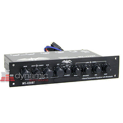 Wet Sounds WS-420BT 4-Band Marine Equalizer with Aux Input and Bluetooth New