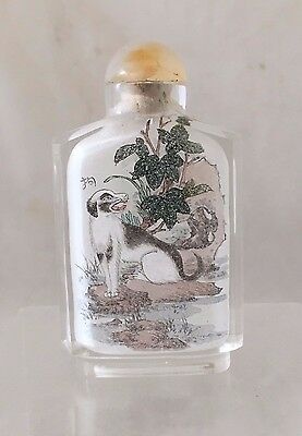 Signed Chinese Inside Painted Glass Snuff Bottle With Chinese Inscription Qing