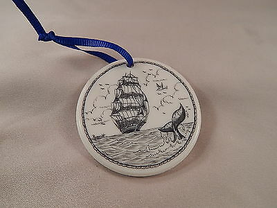 Scrimshaw Resin Christmas Ornament Ship/ Whale Tail with Blue Ribbon