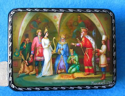 Russian LACQUER Box GICLEE small Fairy tale Ivan & Girl-Tsar Humpbacked Horse