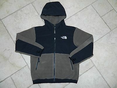 The North Face Boys Taupe Black Zip Front Fleece Jacket sz 7-8