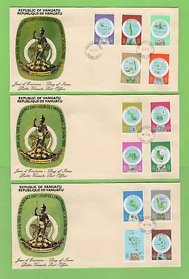 Vanuatu 1980 French Currency definitive set on three First Day Covers