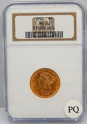 1893 $5 Liberty Head Gold Piece - NGC Graded MS62 !!