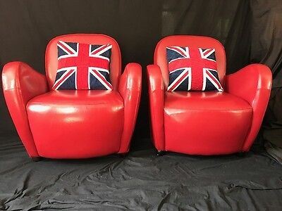Pair Handmade Art Deco Chesterfield Style Ferrari Red Leather Club Armchairs
