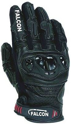 Falcon Premium Leather Motorcycle Motorbike Gloves  Leather Short