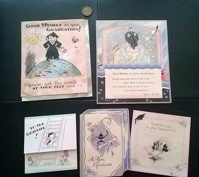 Lot of 5 - Vintage 1930's Small Graduation Cards - SIGNED