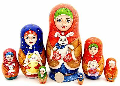 Genuine Russian HAND PAINTED nesting dolls 5 Matryoshka GIRL & Bunny Rabbit GIFT