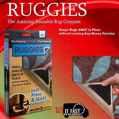 New Set Of Rug Carpet Mat Grippers Ruggies Non Slip Skid Reusable Washable Grips