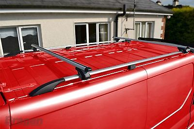To Fit 07 - 16 Fiat Scudo SWB Aluminium Metal Roof Rails + Locking Cross Bars