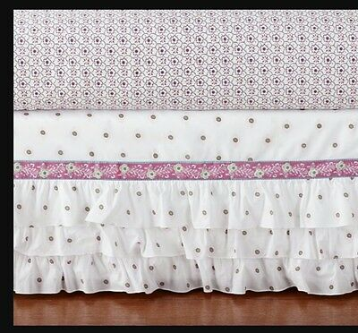 "Pottery Barn Kids ""Brooklyn"" Three Tier RuffledPink & Green Floral Crib Skirt"