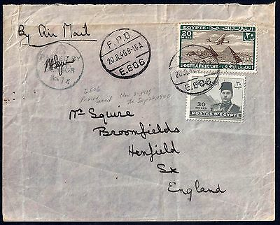 Uk Gb Egypt 1940 War Time Field Post Office Cover E606 Franked Airmail 20 Mils &