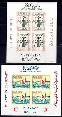 Uae Dubai 1963 Four Imperf Souvenir Sheets Red Cross Red Cross & Freedom From