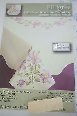 """Tobin Stamped Tablecloth FILLIGREE Flowers 50"""" x 70""""  Cross Stitch & Embroidery"""