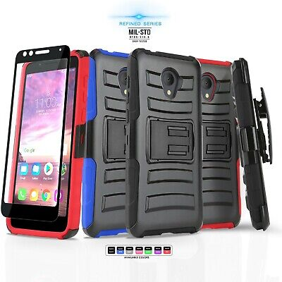 Refined Cover Phone Case & Holster For [Alcatel Tcl Lx (2018)] +Tempered Glass
