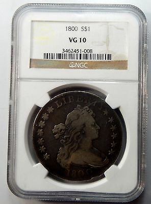 1800 Draped Bust Silver Dollar - NGC Certified VG 10 !!