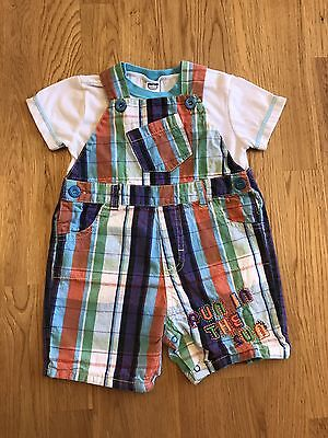 EUC BABY COMPANY 6-12 Months Infant Boys Overalls Shorts Romper & T Shirt Outfit