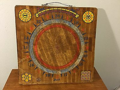 Vintage Deco Wood Dartboard Two Sided Multiple Games horse/dominos/tic-tac-toe