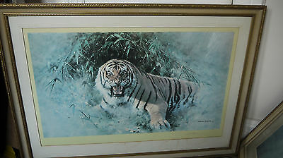 "DAVID SHEPHERD Pencil signed Ltd Edition print ""TIGER FIRE"" - VERY RARE !!!!!"