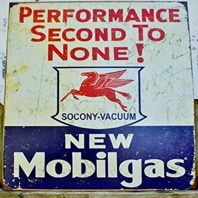 Mobil Gas Gasoline Performance Second To None Tin Sign 13 X 16In New