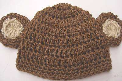 NEW INFANT BABY CROCHET MONKEY HAT cap beanie knit toddler photo prop USA