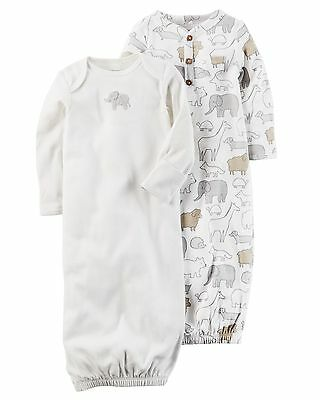New Carter's 2 Pack Sleep Bag Or Gown size Newborn NWT Gowns Gray Elephants