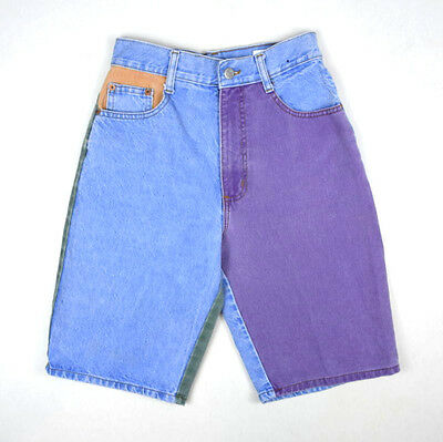 "Vtg 1990s Color Block Denim Retro Grunge Jean Bermuda Shorts Womens 26"" Waist"