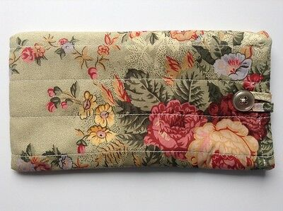 Glasses case fabric Quilted Green floral. button/ loop close lined Pretty Gift