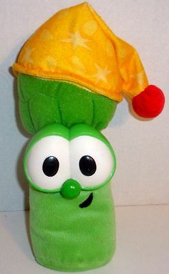 "Fisher Price Veggie Tales 9"" Singing Light Up Jr Asparagus Bedtime Stuffed Plush"