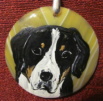 Greater Swiss Mountain Dog hand painted on round, yellow Agate pendant/bead/neck