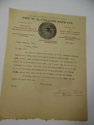 1910 W.D. Collins Safe Co. Letterhead illustrated Ely-Norris Cannonball Antique