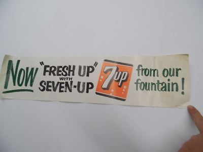 "1961 7 UP 7-Up Soda Fountain Service Paper Sign Poster Banner Vintage 7UP 24""x7"""