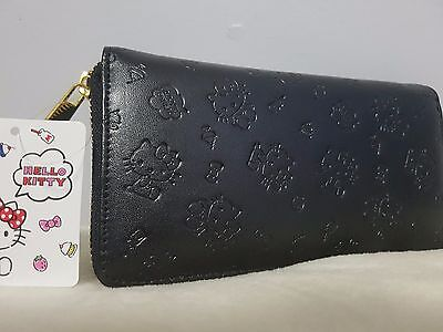 Sanrio Hello Kitty Wallet Black Embossed from Japan - Brand New