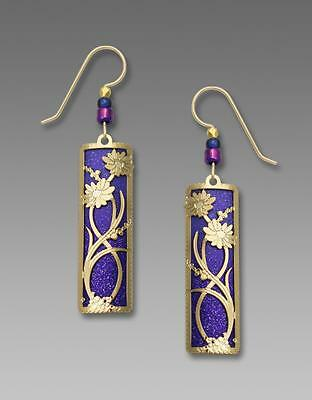 Adajio Earrings Deep Purple Ombre Column with Shiny Gold 'Daisies' Overlay 7780
