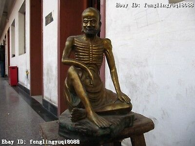 "16""Chinese Buddhism old Copper Bronze Gild skeleton arhat Buddha Statue"