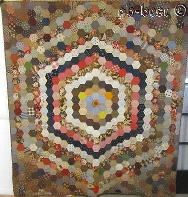 "SPECTACULAR 1870s Mosaic Antique QUILT Conversation Prints FUSSY CUT 90"" x 80"""