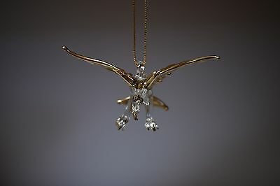 Hanging Eagle Gold Clear Figurine of Blown Glass Crystal