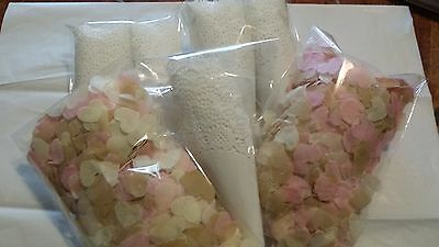 Doily wedding confetti cones packs of 50 including love heart tissue paper