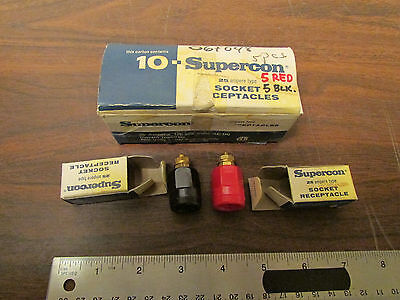 Box of 10 Superior Electric Supercon 25 Amp 600V Sockets 5 Black 5 Red New