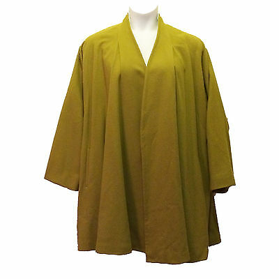 80s vintage ELLEN TRACY swing coat green wool mid century style large size XL OS