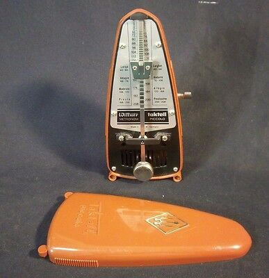 Metronome Wittner Taktell Piccolo Mechanical Wind Up Pocket Size Tan
