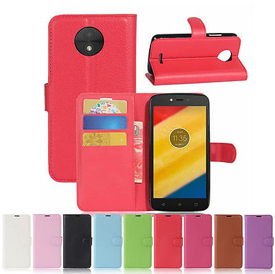 For Motorola Moto C C Plus Magnetic Flip PU Leather Wallet Card Case Stand Cover