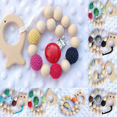 Lovely Baby Natural Wood Crochet Dummy Pacifier Clip Holder Teether Shower Gift