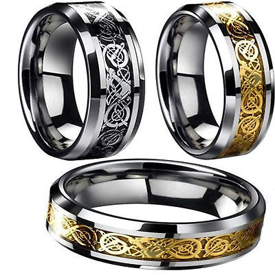 Fashion Men's Silver /Gold Tone Celtic Dragon Stainless Steel Wedding Band Ring