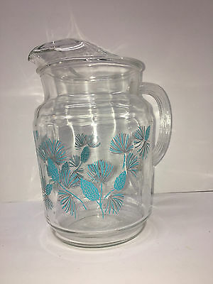 Vintage 1960's Large Glass Pitcher Turquoise Pattern with Ice Lip