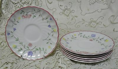 Set Of 6 Johnson Bros Summer Chintz Saucers Made In England
