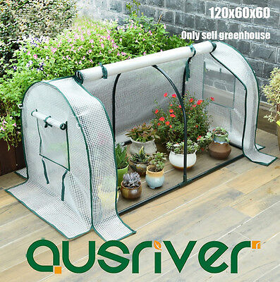 120x60x60cm Arch Roof Greenhouse Green House PE Mesh Cover Insect Screen White