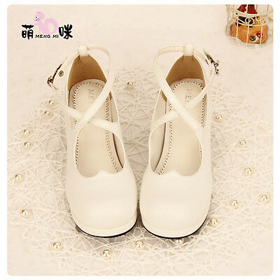 Lolita Women Mary Jane Princess Cosplay Shoes Round Toe Ankle Strap Block Heels